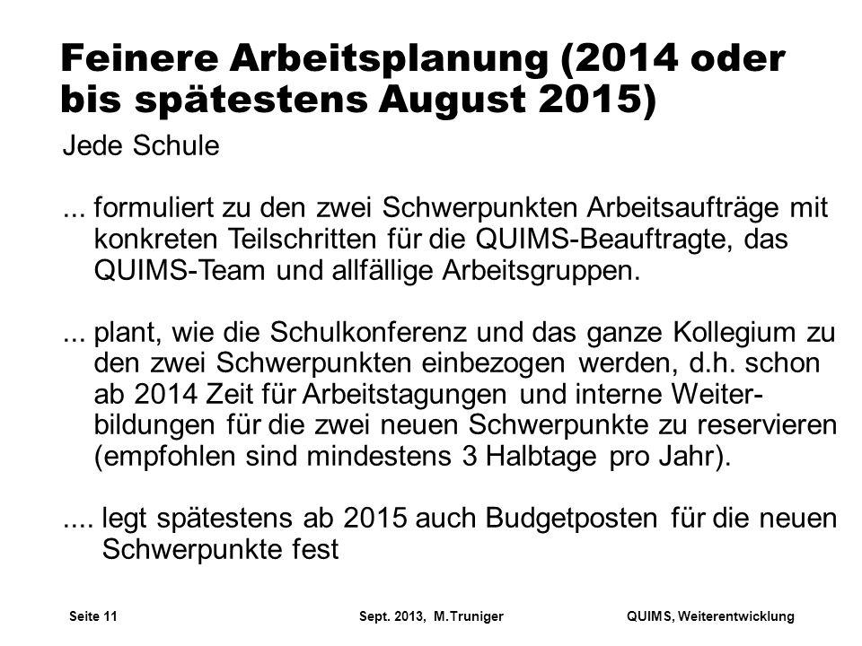 Feinere Arbeitsplanung (2014 oder bis spätestens August 2015)