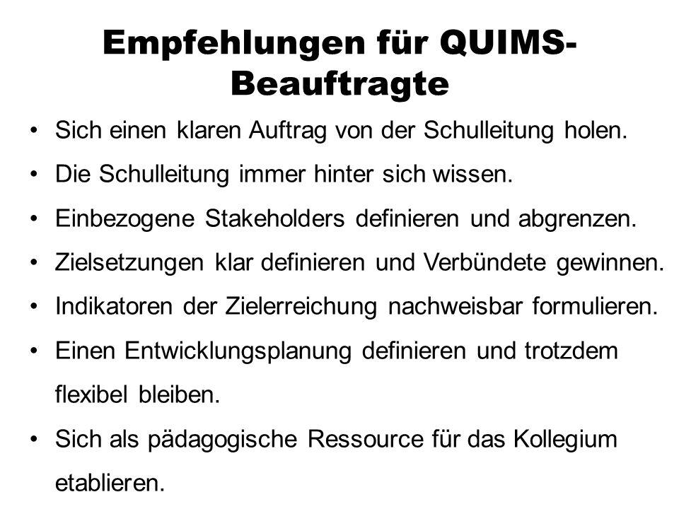 Empfehlungen für QUIMS-Beauftragte
