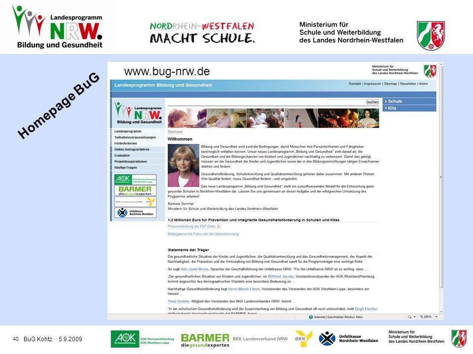 www.bug-nrw.de Homepage BuG