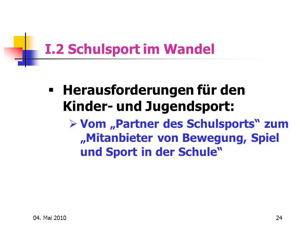 Herausforderungen für den Kinder- und Jugendsport: