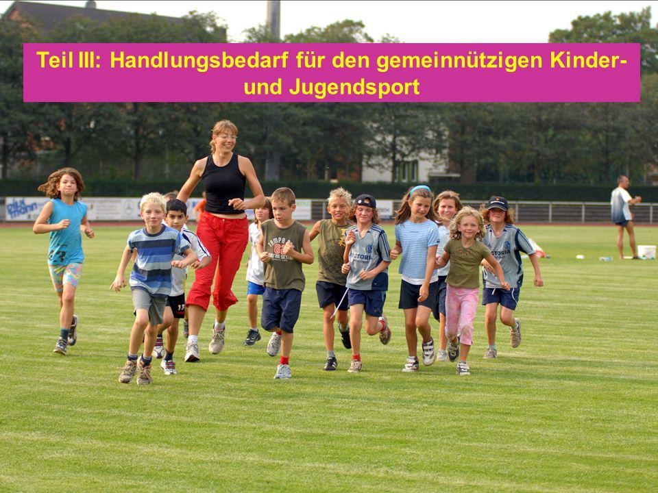 Teil III: Handlungsbedarf für den gemeinnützigen Kinder- und Jugendsport