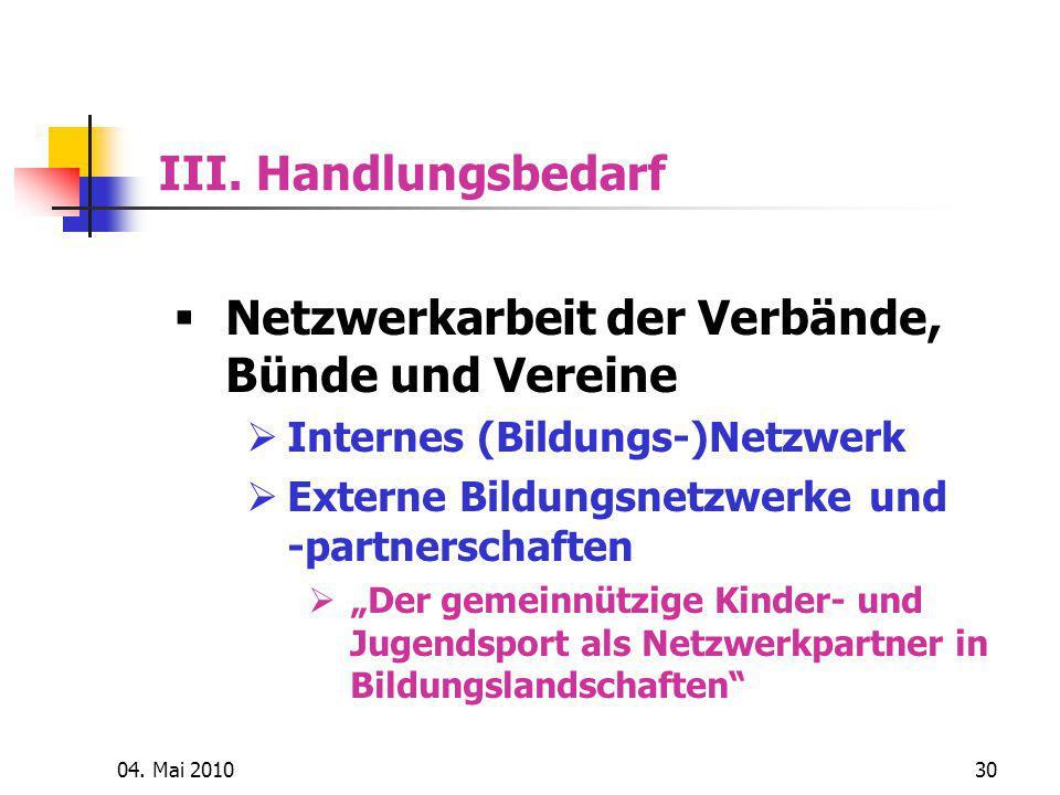 Netzwerkarbeit der Verbände, Bünde und Vereine