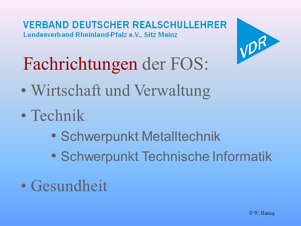 Fachrichtungen der FOS: