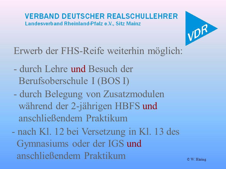 Erwerb der FHS-Reife weiterhin möglich: