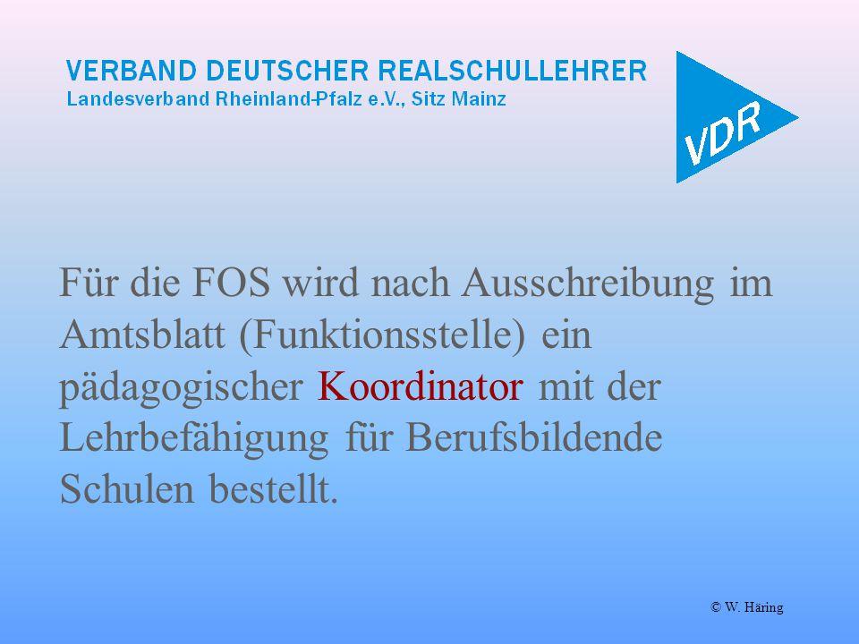 Für die FOS wird nach Ausschreibung im Amtsblatt (Funktionsstelle) ein pädagogischer Koordinator mit der Lehrbefähigung für Berufsbildende Schulen bestellt.