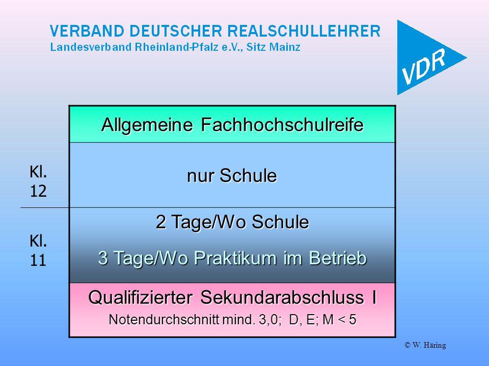 Allgemeine Fachhochschulreife nur Schule 2 Tage/Wo Schule