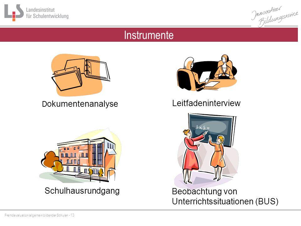Instrumente Instrumente der FEV Schulhausrundgang Beobachtung von