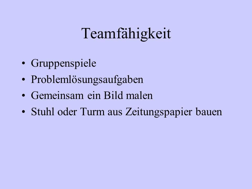 Teamfähigkeit Gruppenspiele Problemlösungsaufgaben