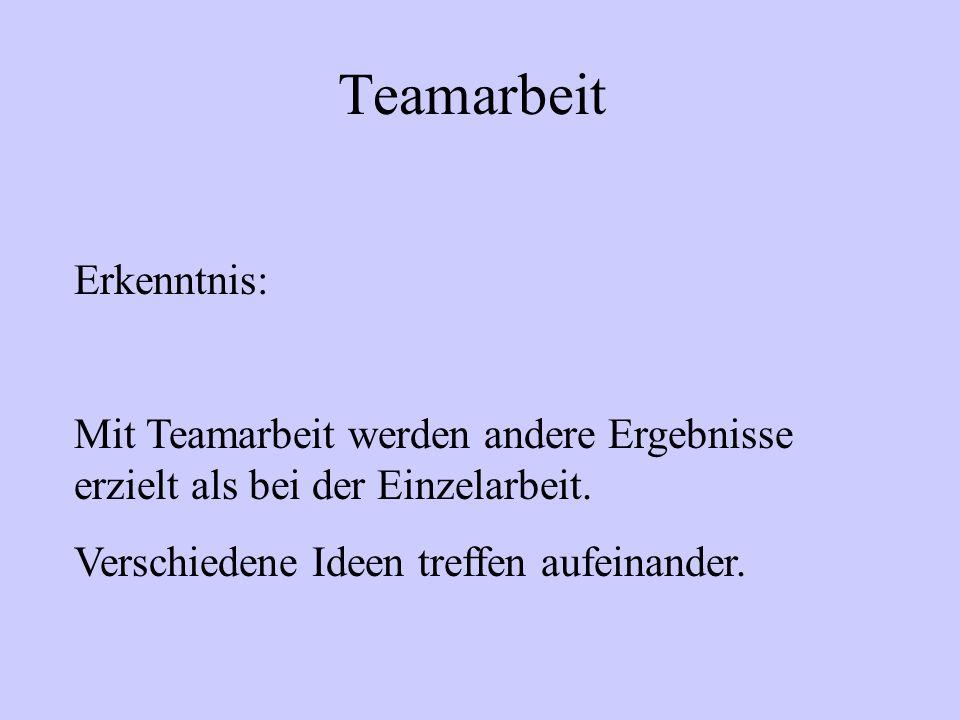 Teamarbeit Erkenntnis: