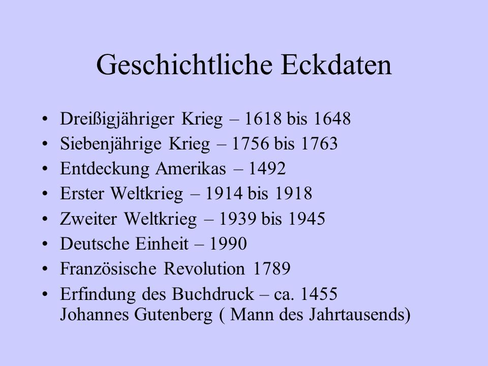 Geschichtliche Eckdaten