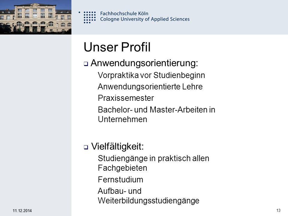 Unser Profil Anwendungsorientierung: Vielfältigkeit: