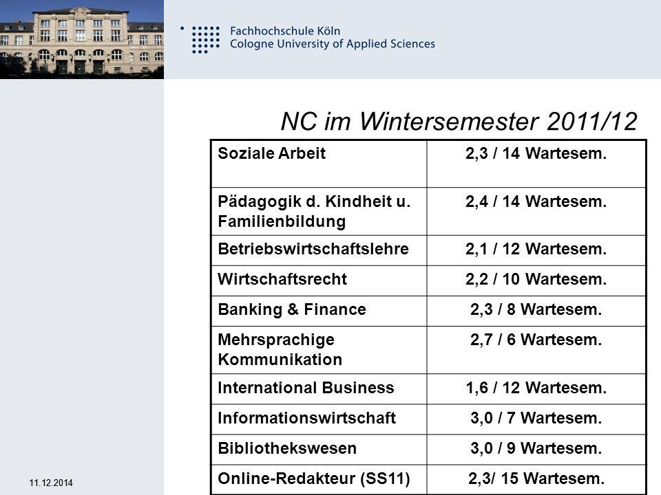 NC im Wintersemester 2011/12 Soziale Arbeit 2,3 / 14 Wartesem.