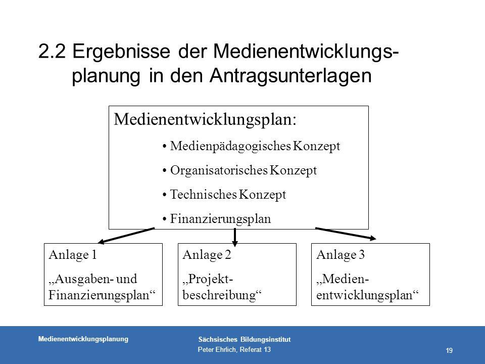 2.2 Ergebnisse der Medienentwicklungs-planung in den Antragsunterlagen