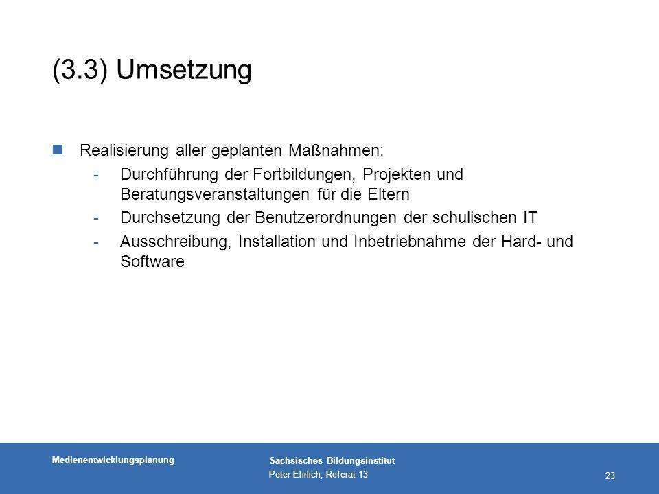 (3.3) Umsetzung Realisierung aller geplanten Maßnahmen: