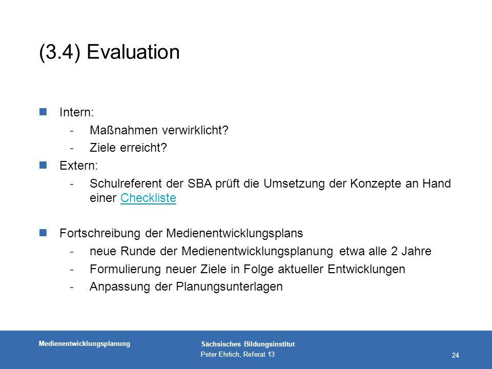 (3.4) Evaluation Intern: Maßnahmen verwirklicht Ziele erreicht