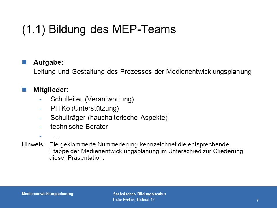 (1.1) Bildung des MEP-Teams