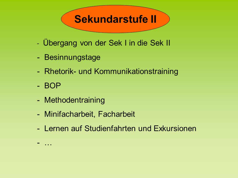 Sekundarstufe II Besinnungstage Rhetorik- und Kommunikationstraining