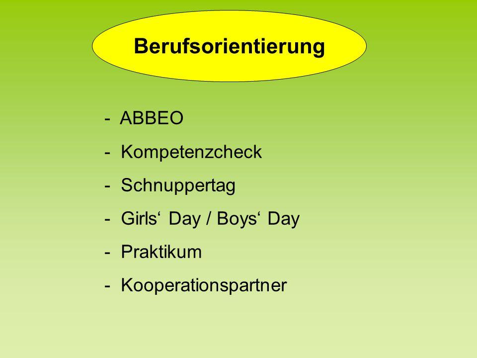 Berufsorientierung - ABBEO - Kompetenzcheck - Schnuppertag