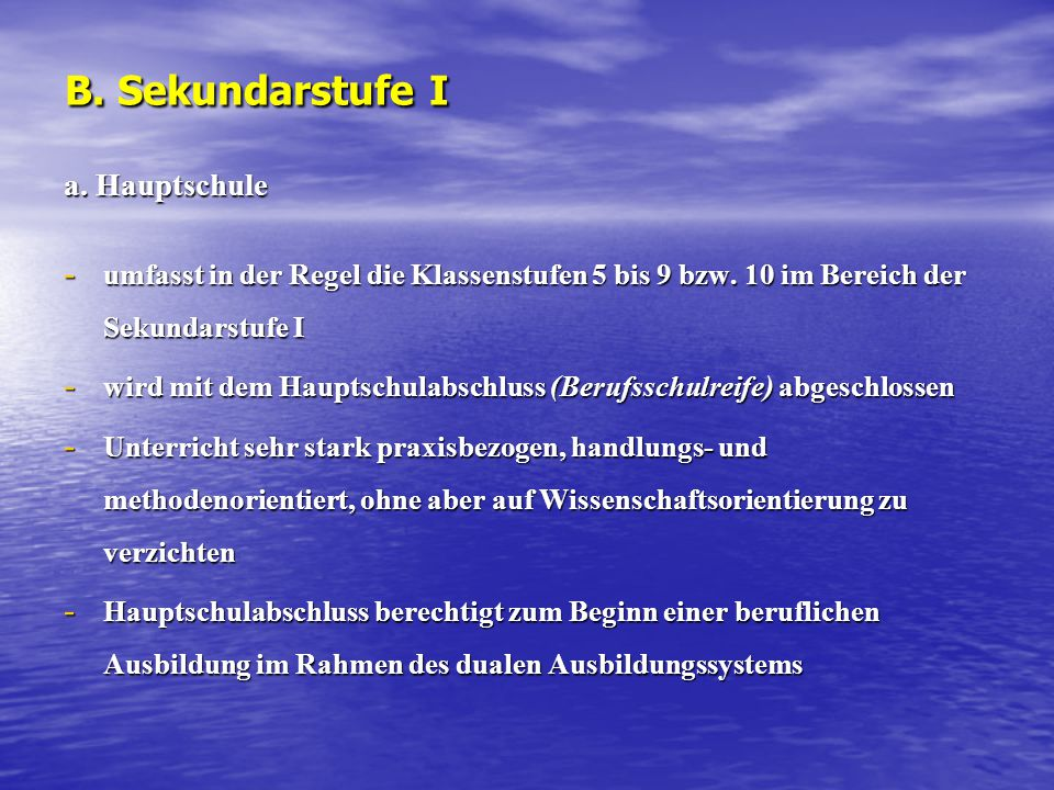 B. Sekundarstufe I a. Hauptschule
