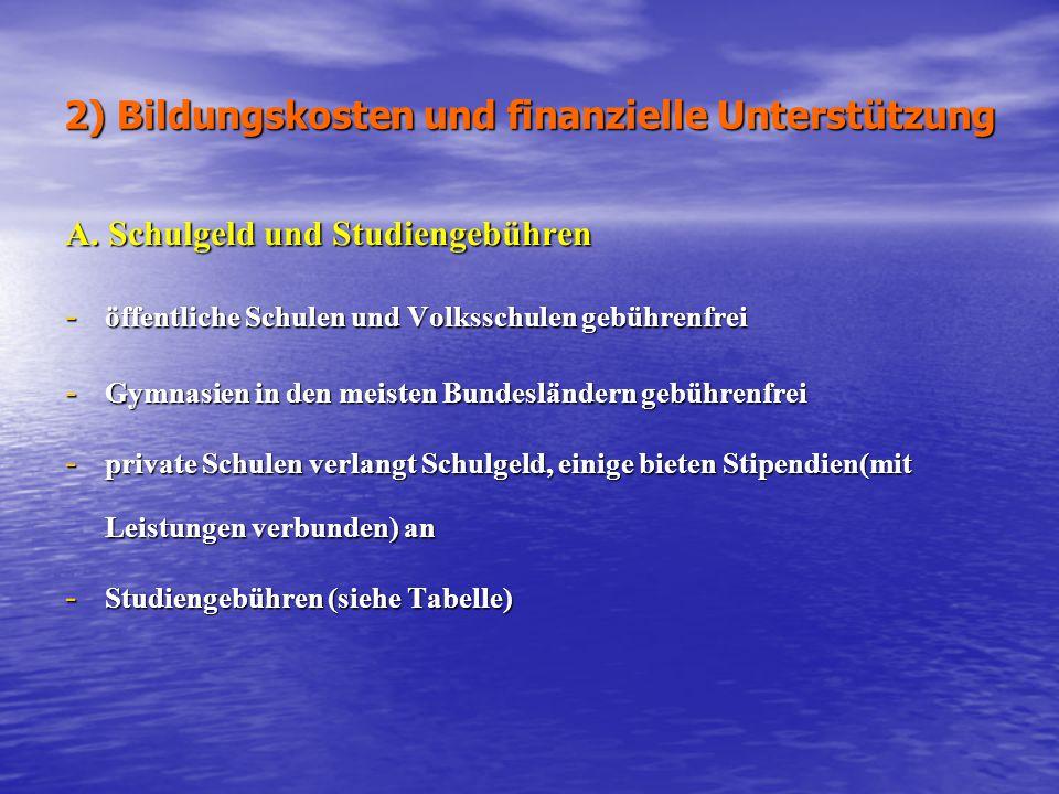 2) Bildungskosten und finanzielle Unterstützung