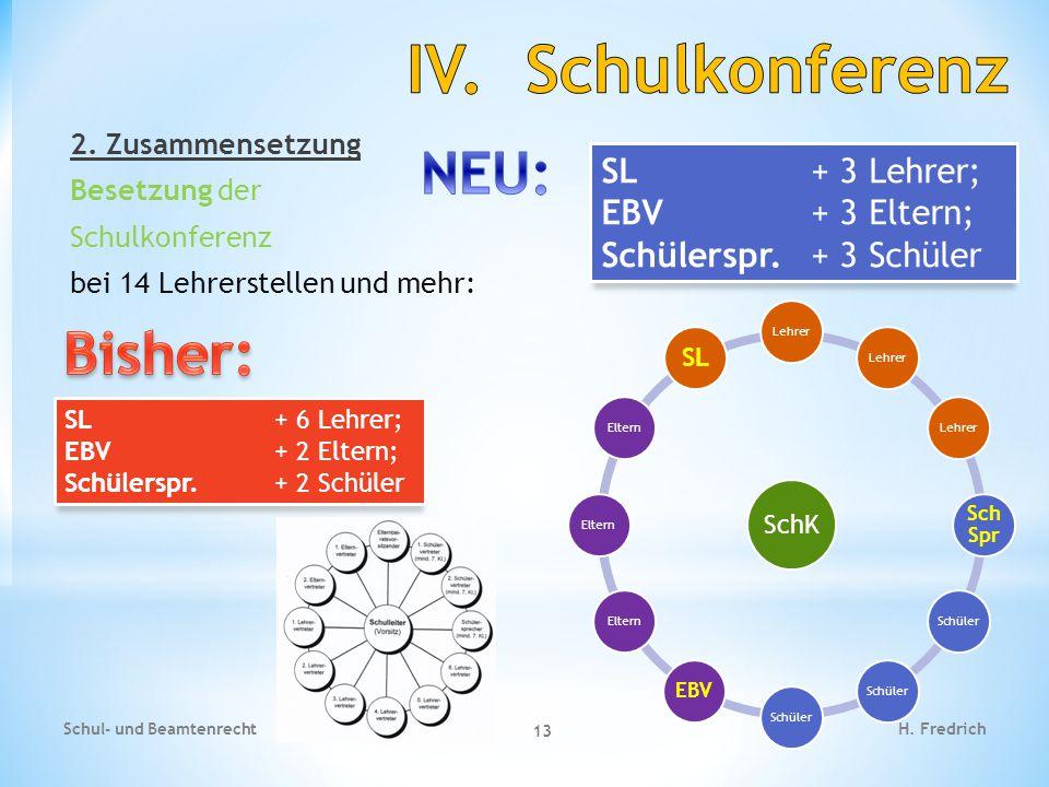 IV. Schulkonferenz NEU: Bisher: SL + 3 Lehrer; EBV + 3 Eltern;