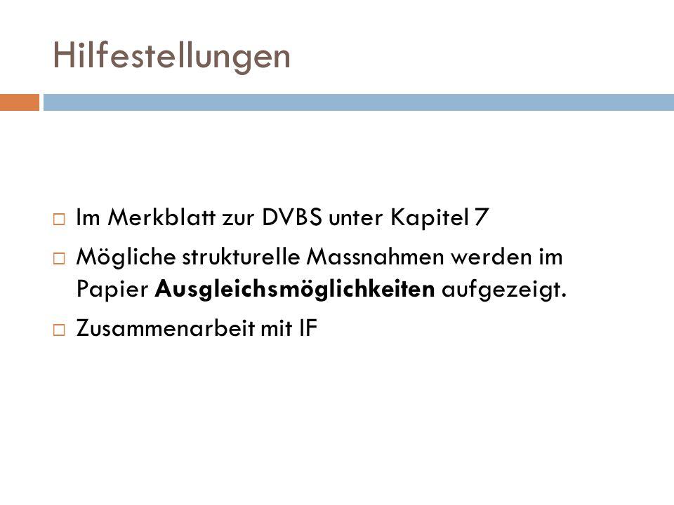 Hilfestellungen Im Merkblatt zur DVBS unter Kapitel 7