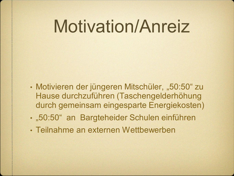 """Motivation/Anreiz Motivieren der jüngeren Mitschüler, """"50:50 zu Hause durchzuführen (Taschengelderhöhung durch gemeinsam eingesparte Energiekosten)"""