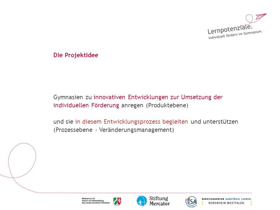 Die Projektidee Gymnasien zu innovativen Entwicklungen zur Umsetzung der individuellen Förderung anregen (Produktebene)