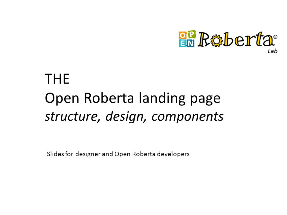THE Open Roberta landing page structure, design, components