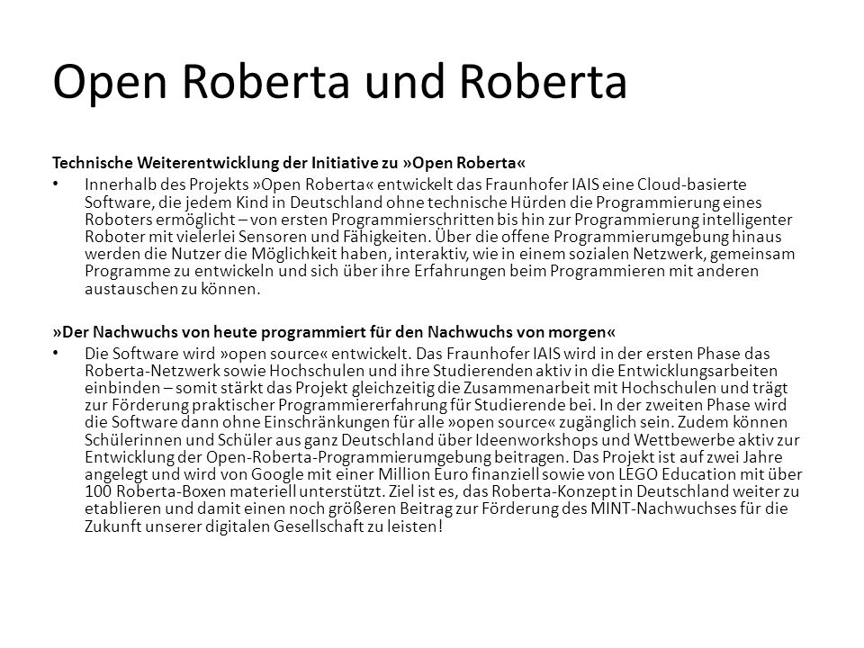 Open Roberta und Roberta