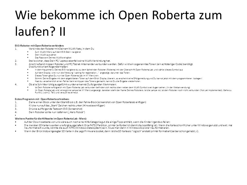 Wie bekomme ich Open Roberta zum laufen II