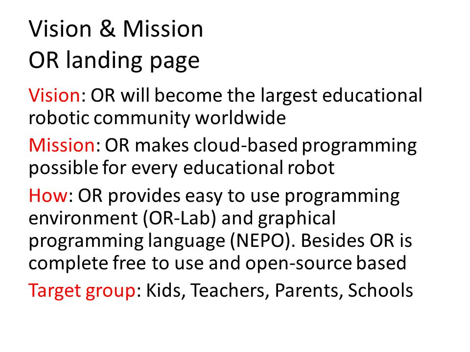 Vision & Mission OR landing page