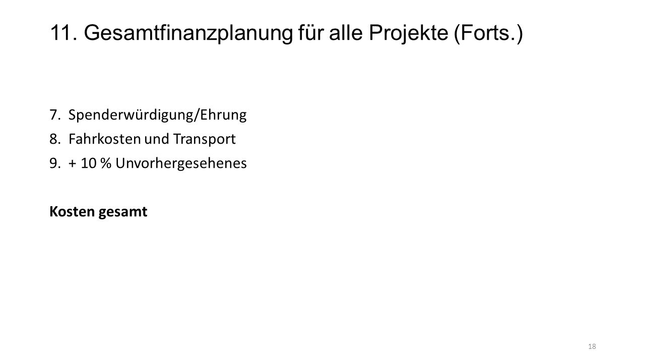 11. Gesamtfinanzplanung für alle Projekte (Forts.)