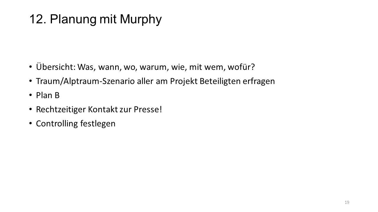 12. Planung mit Murphy Übersicht: Was, wann, wo, warum, wie, mit wem, wofür Traum/Alptraum-Szenario aller am Projekt Beteiligten erfragen.