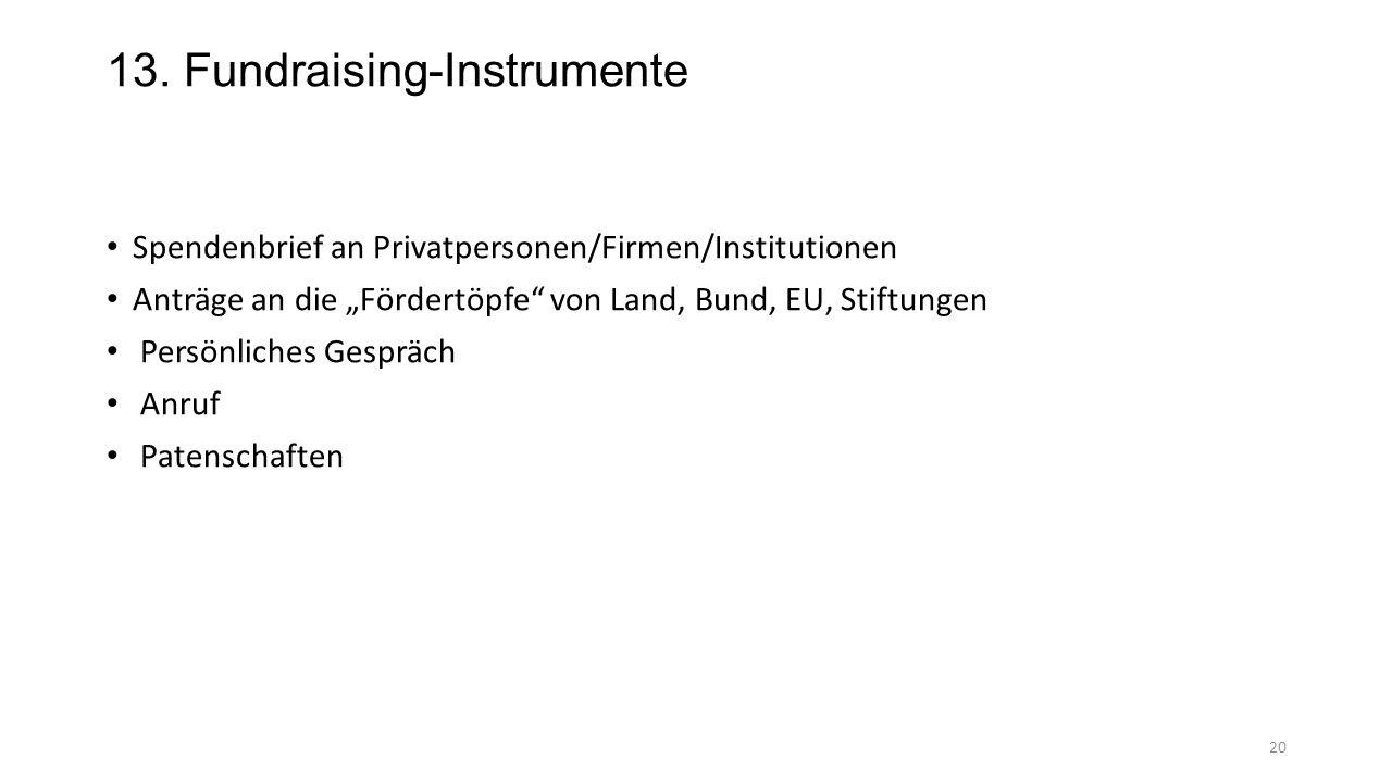13. Fundraising-Instrumente