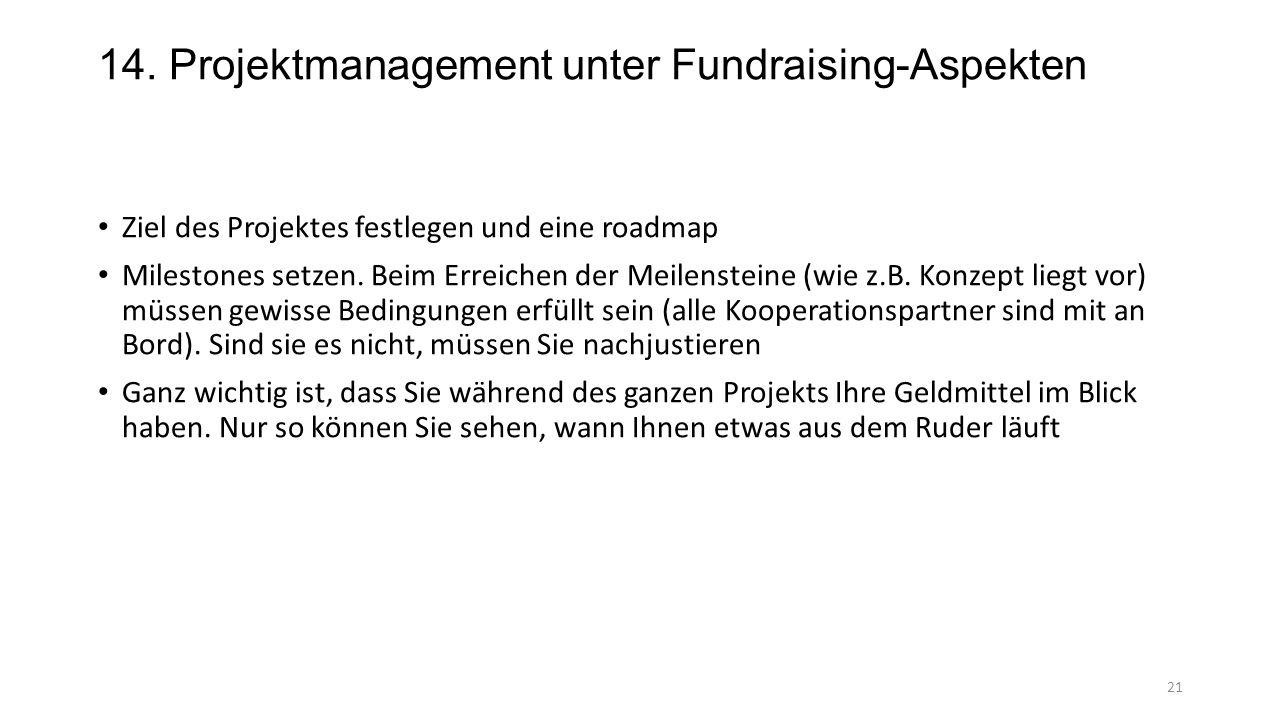 14. Projektmanagement unter Fundraising-Aspekten