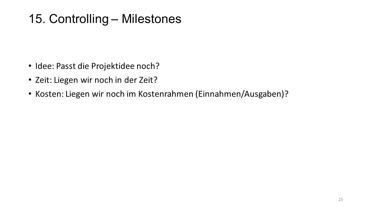 15. Controlling – Milestones