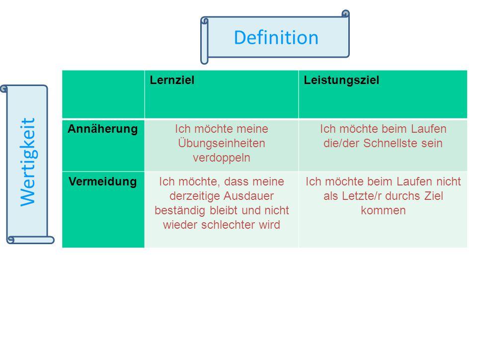 Definition Wertigkeit Lernziel Leistungsziel Annäherung