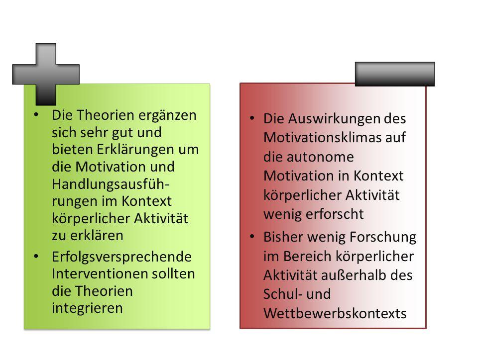 Die Theorien ergänzen sich sehr gut und bieten Erklärungen um die Motivation und Handlungsausfüh-rungen im Kontext körperlicher Aktivität zu erklären