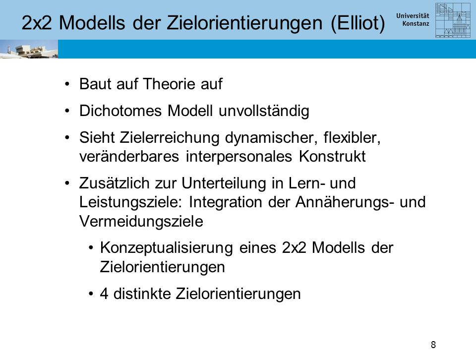 2x2 Modells der Zielorientierungen (Elliot)