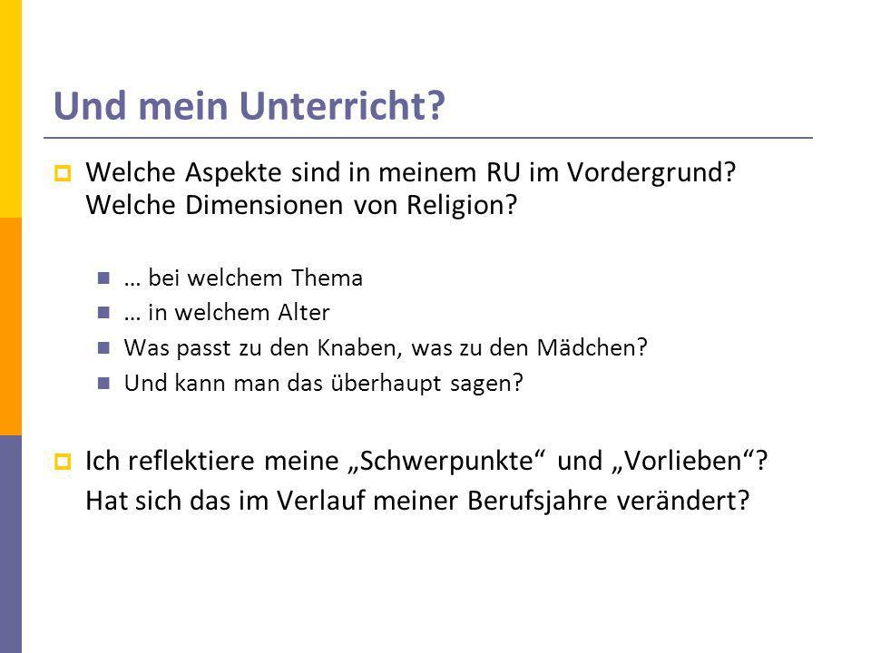 Und mein Unterricht Welche Aspekte sind in meinem RU im Vordergrund Welche Dimensionen von Religion
