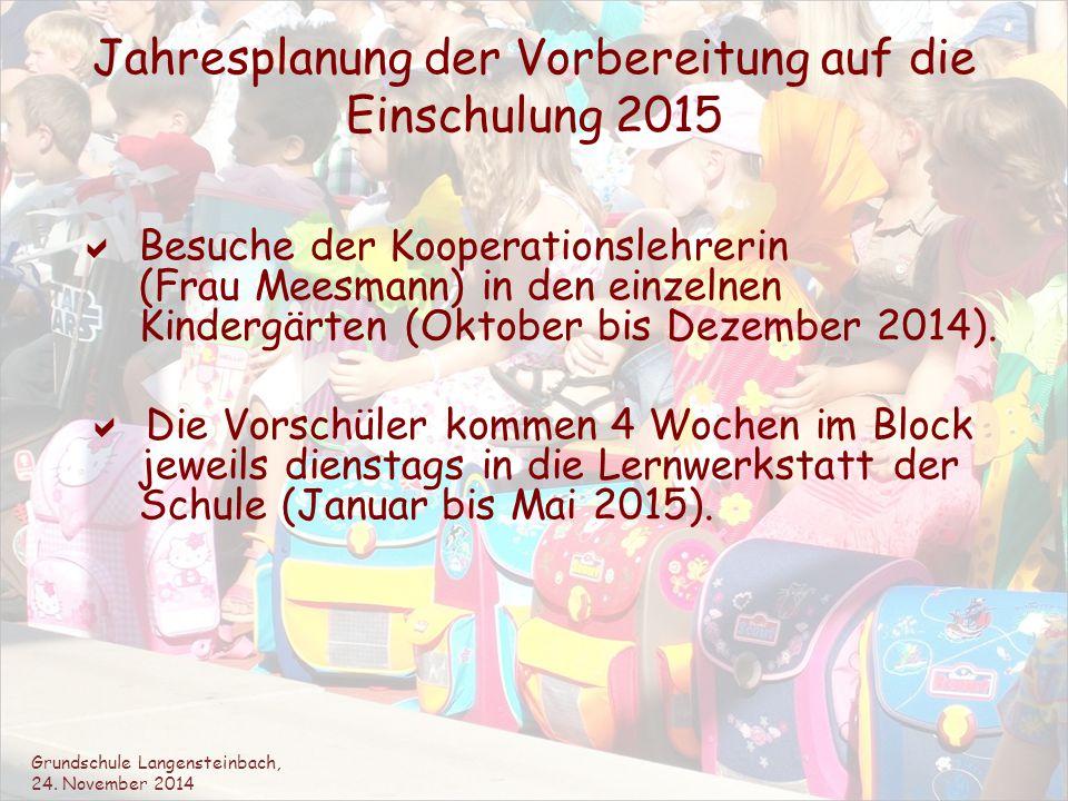 Jahresplanung der Vorbereitung auf die Einschulung 2015