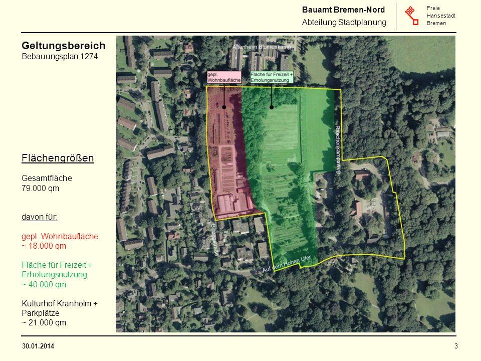 Geltungsbereich Flächengrößen Bebauungsplan 1274 Gesamtfläche