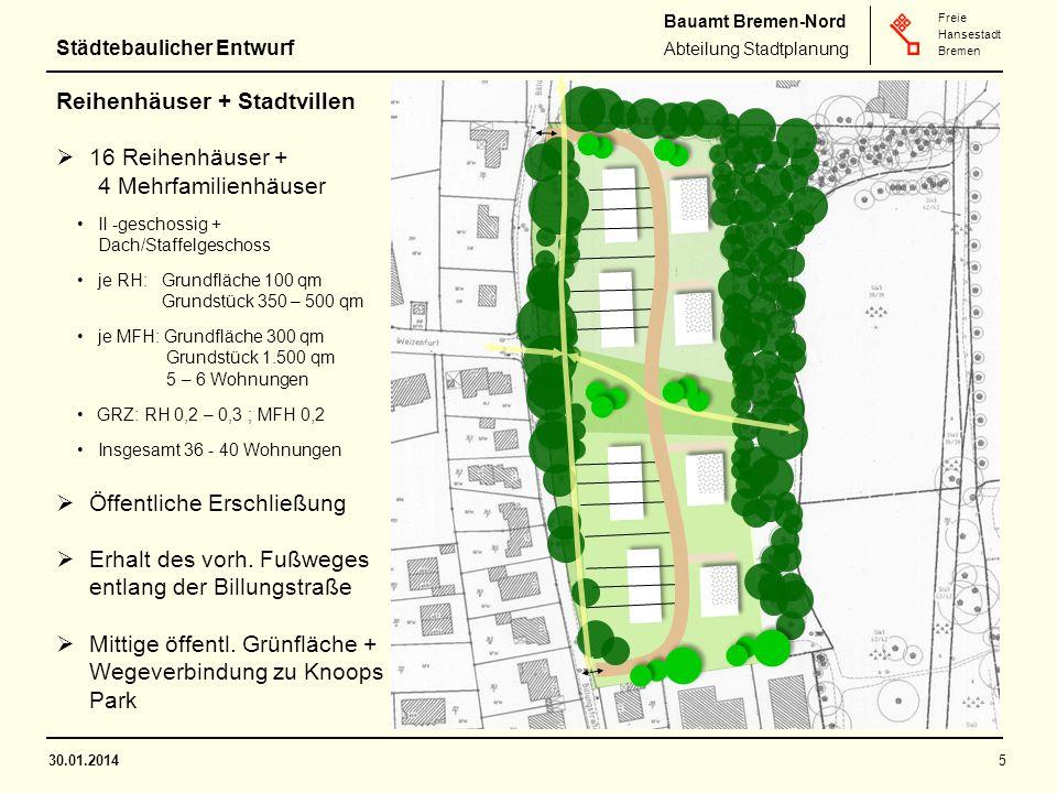 Reihenhäuser + Stadtvillen 16 Reihenhäuser + 4 Mehrfamilienhäuser