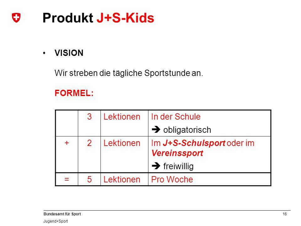 Produkt J+S-Kids  obligatorisch  freiwillig VISION