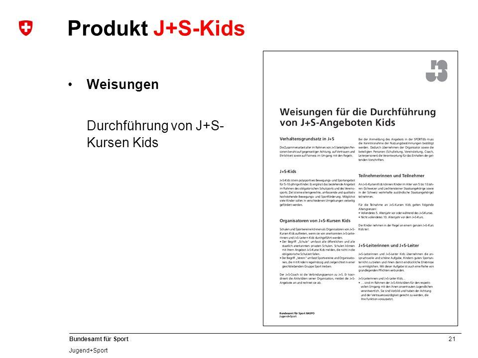 Produkt J+S-Kids Weisungen Durchführung von J+S-Kursen Kids