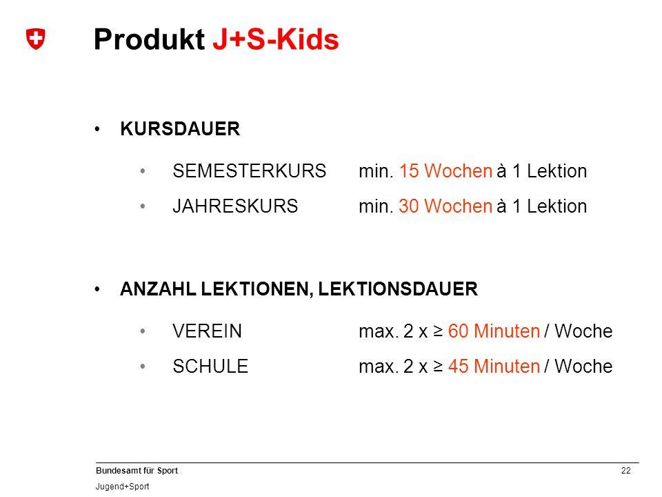 Produkt J+S-Kids KURSDAUER SEMESTERKURS min. 15 Wochen à 1 Lektion
