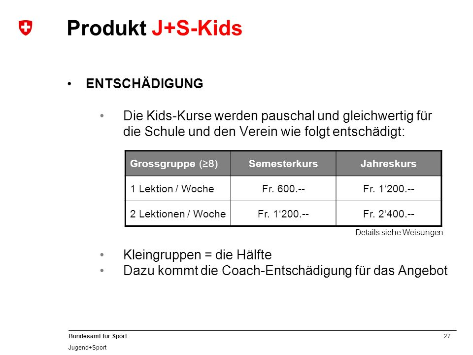 Produkt J+S-Kids ENTSCHÄDIGUNG