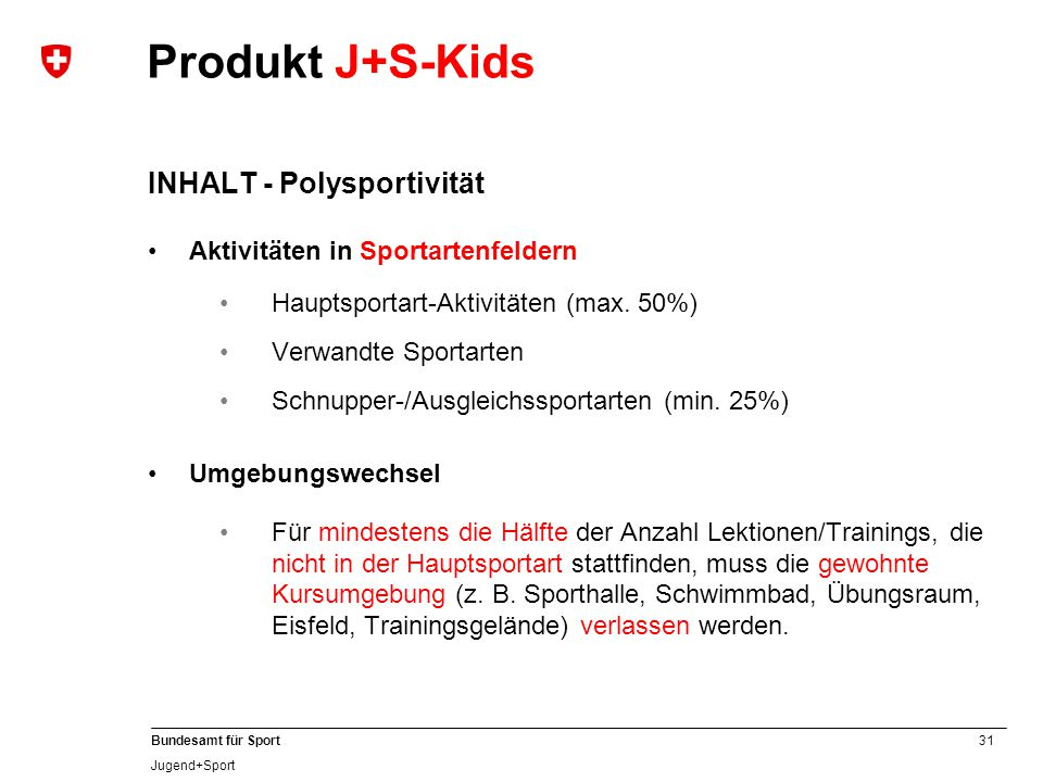 Produkt J+S-Kids INHALT - Polysportivität