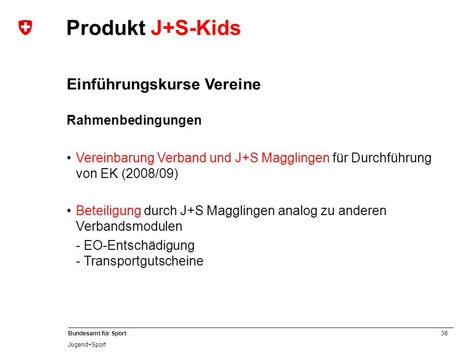 Produkt J+S-Kids Einführungskurse Vereine Rahmenbedingungen